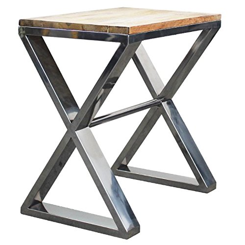 Bistrotafel salontafel bijzettafel Natalie mangohout natuurbruin ijzer rechthoekig