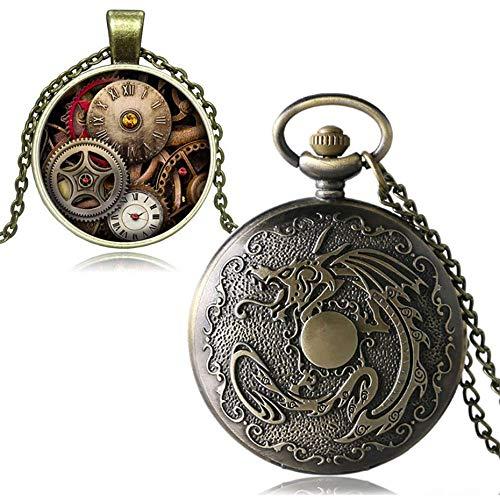 J-Love Reloj de Bolsillo de Cuarzo de Bronce Vintage para Hombre, Reloj, Caja de Regalo, Conjunto Masculino