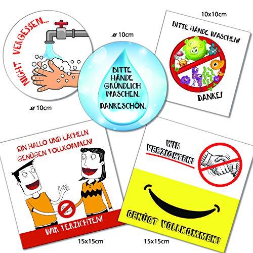 Logbuch-Verlag - Juego de 5 carteles de aviso para lavarse las manos y no usar en manos - normas de higiene - cartel para puerta de colores