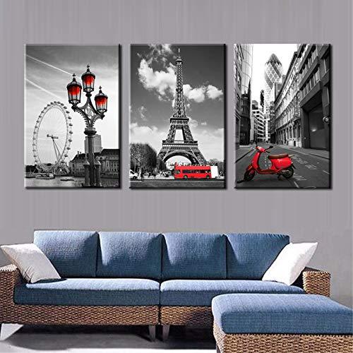 sonbrille Paisaje moderno de la ciudad Paisaje de la pintura de la Torre Eiffel en París Poster Imagen de la pared para la sala de estar Decoración para el hogar Regalo 30x45cm NoFramed
