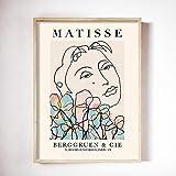 Carteles e impresiones de cara de mujer abstracta Matisse imágenes de plantas coloridas desnudas para pintura de lienzo sin marco para el hogar A 50x70cm