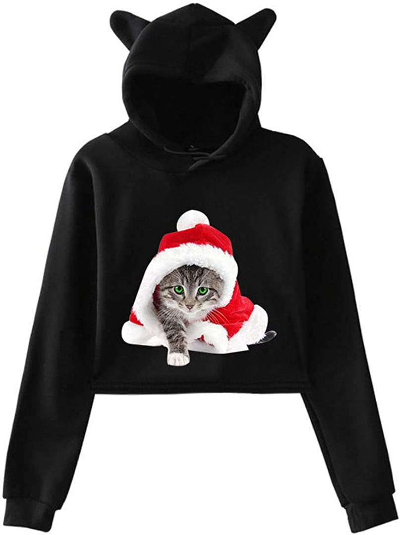 JCNHXD Sweats à Capuche de Noël pour Filles Cat Ears Sweats à Capuche Courts Sweat à Capuche Automne Grey A