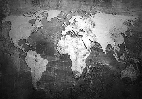 wandmotiv24 Fototapete Weltkarte Wand Grunge, XXL 400 x 280 cm - 8 Teile, Fototapeten, Wandbild, Motivtapeten, Vlies-Tapeten, Beton, Wand M1459