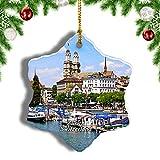 Weekino Suiza Grossmunster Zúrich Decoración de Navidad Árbol de Navidad Adorno Colgante Ciudad Viaje Porcelana Colección de Recuerdos 3 Pulgadas