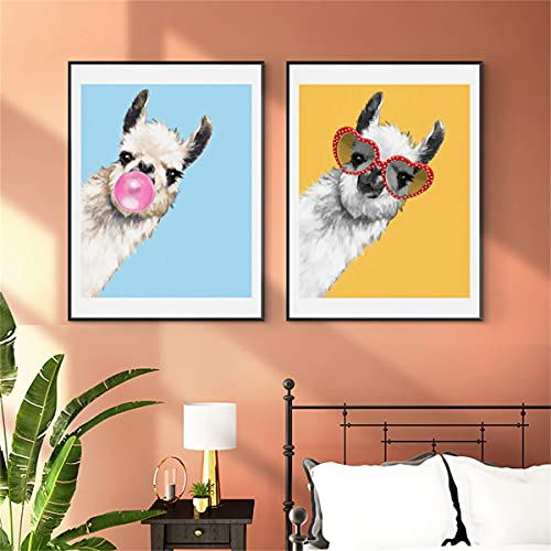paglutaw Gracioso Chicle Llama Lienzo Animal Pintura Rosa Azul Colorido Niño Cartel De Pared Arte Imagen Nórdica Guardería Bebé Dormitorio Decoración 30x45cm NoFramed