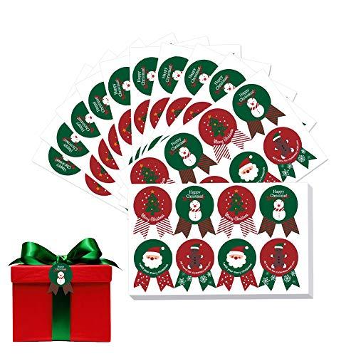 Etiqueta de Navidad Pegatinas,160 piezas Etiqueta de sellado de Navidad Etiqueta de vacaciones de Navidad Selladores de bronceado Rojo Verde de feliz Navidad Etiqueta de sello Etiqueta