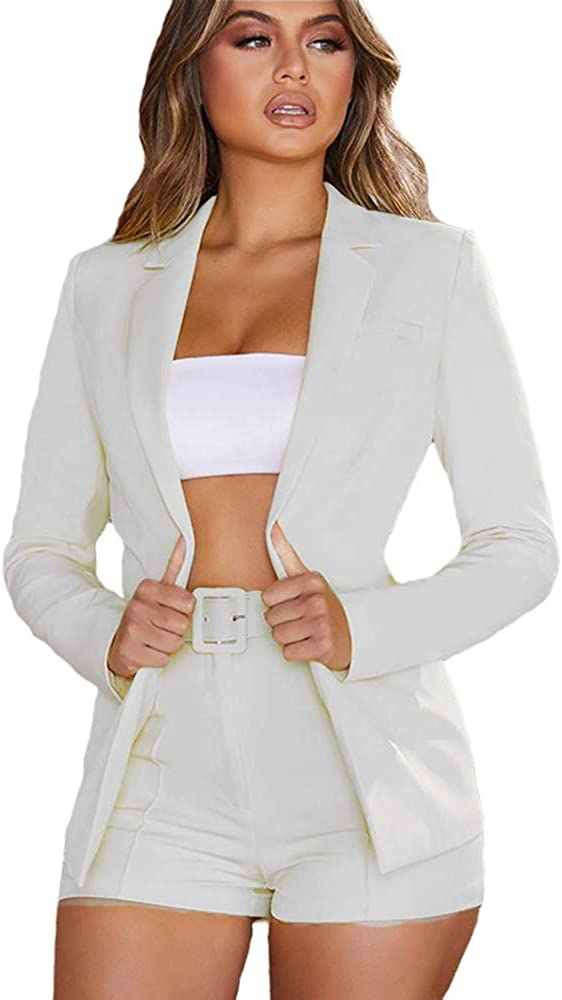 KoKoHouse Women's Sexy 2 Piece Outfits Long Sleeve Blazer and Shorts Pants Fashion Business Suit Sets