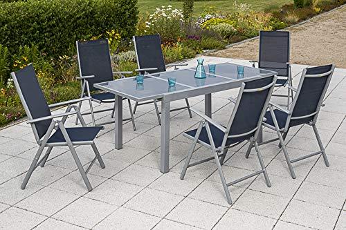 MERXX 7tlg. Amalfi Set, 6 Amalfi Klappsessel, Rückenlehne 5-Fach verstellbar, 1 Ausziehtisch, 140 (200) x 90 cm, Taupe