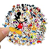 Lot de 50 autocollants Mickey Mouse Disney pour ordinateur portable, skateboard, bagages, guitare, vélo