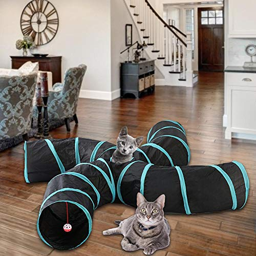 PoeticHouse 4-Wege Katzentunnel, Faltbarer Katzenspielzeug Spieltunnel Für Große Katzen, Welpe, Kätzchen, Kaninchen Adorable