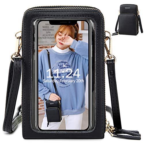 Touchscreen Telefoon Schoudertas voor Dames Clear Window Card Slots Kaart Portemonnee Crossbody Tassen Portemonnee Clutch Handtassen,Zwart