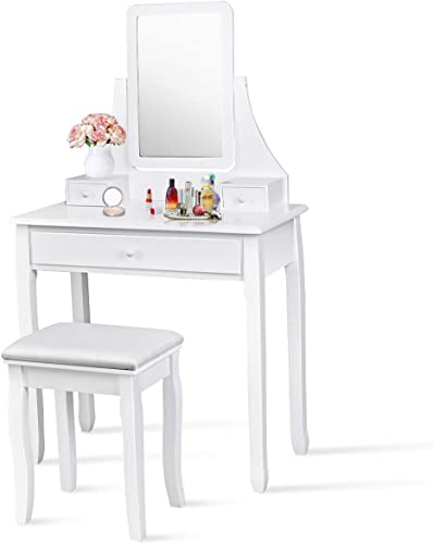 high quality Giantex Vanity Set with Large Drawer and 2 Removable Dividers, Makeup online Dressing Table with Rotated Mirror and Cushioned Stool, Modern Girls Women Makeup Table for Bedroom high quality Bathroom (White) online