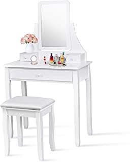 Giantex Vanity Set with Large Drawer and 2 Removable Dividers, Makeup Dressing Table with Rotated Mirror and Cushioned Stool, Modern Girls Women Makeup Table for Bedroom Bathroom (White)