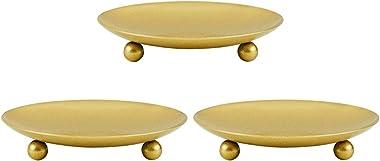 PandaHall Lot de 3 Bougeoir Chandelier d'or, Plaque de Bougie Décorative Pilier en Fer Bougeoir sur Piédestal pour la Déc