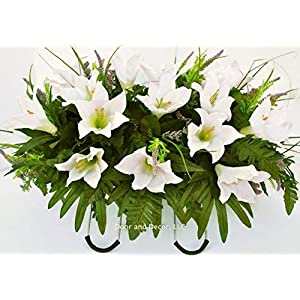 Cemetery Spring Flowers ~Spring white lilly mix~headstone saddle arrangement~cemetery flower service~grave site decor~sympathy flowers~flowers for graves~Lillies and wildflowers