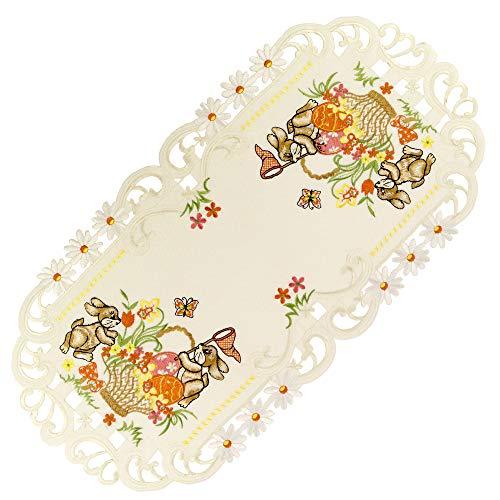 Espamira Tischdecke Ostern Creme Mitteldecke Decke Osterdecke Pflegeleicht Polyester (Tischläufer 35 x 70 cm)