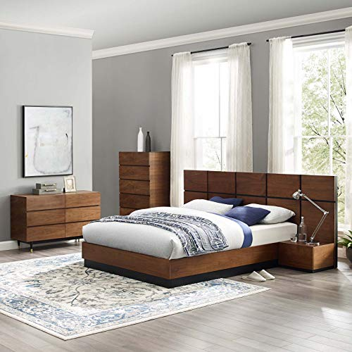 Best Bargain Modway Caima 5-Piece Bedroom Set, Walnut