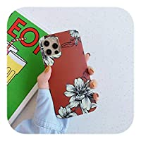 HUJEA ヴィンテージフラワーパターン耐衝撃電話カバーfor iPhone 12 Mini 11 Pro Max X XR XS Max 7 8 7Plus Soft Silicone IMD case-T1-for iPhone 12