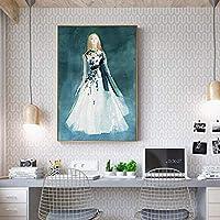 モダンポスター40x60cmフレームなしモダンブルーコールドウーマンプリントポスターホームウォールアートデコレーションペインティングバーカフェリビングルームベッドルーム