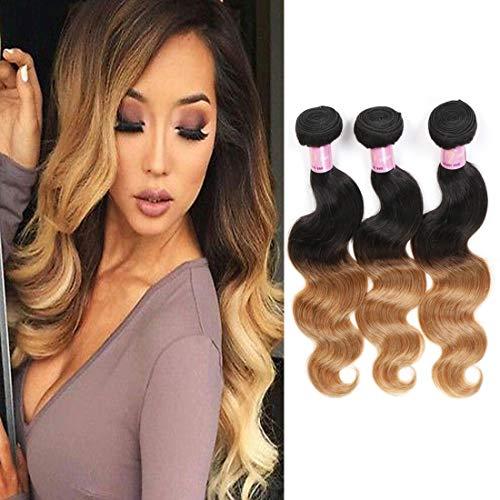 Ombre Hair Weave Bundles Brazilian Body Wave Virgin Human Hair Bundles Ombre Weft Human Hair Body Wave 3 Bundles (14 16 18 Inches,1B/27 Colour)