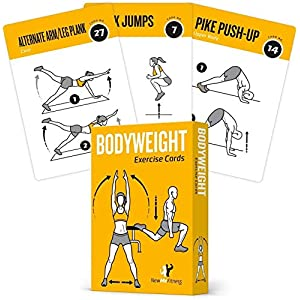 Exercise Cards BODYWEIGHT – Home Gym Workout Personal Trainer Fitness Program Tones Core Ab Legs Glutes Chest Biceps Total Upper Body Workouts Calisthenics Training Routine