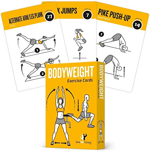 "Exercise Cards BODYWEIGHT - Home Gym Workout Personal Trainer Fitness Program Tones Core Ab Legs Glutes Chest Biceps Total Upper Body Workouts Calisthenics Training Routine (3.5""x5"", English Vol 1)"