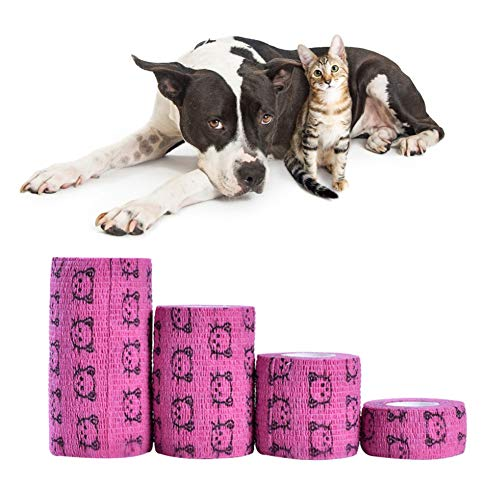 Pssopp 4 Piezas Autoadhesivas Vendaje para Mascotas Transpirable elástico Autoadhesivo cohesivo para Mascotas Rollos de Cinta de Envoltura para Perros Gatos Tobillo Rodilla esguinces de muñeca(Rojo)