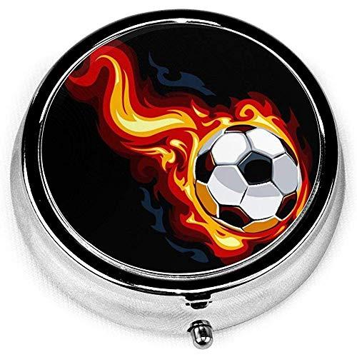 Feuer-Fußball-Pillendose, Medizin-Vitamin-Organisator-Kasten-runder Pillendose-Kasten mit drei Fächern für Tasche oder Geldbeutel