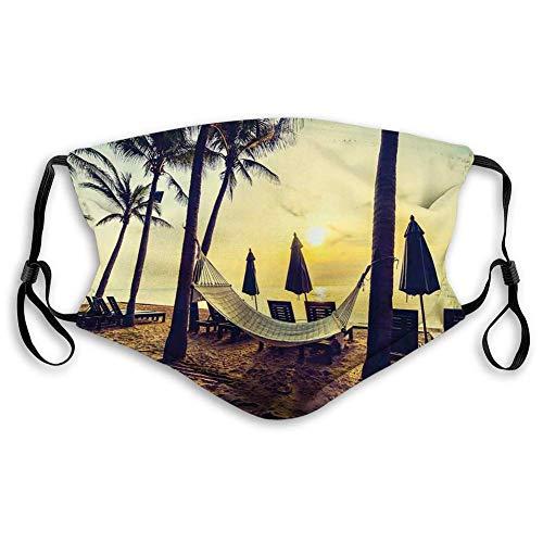 Cómoda máscara a prueba de viento, foto de hamaca vacía en la playa al amanecer tiempo con palma de coco estampado exótico, decoraciones faciales impresas para personas