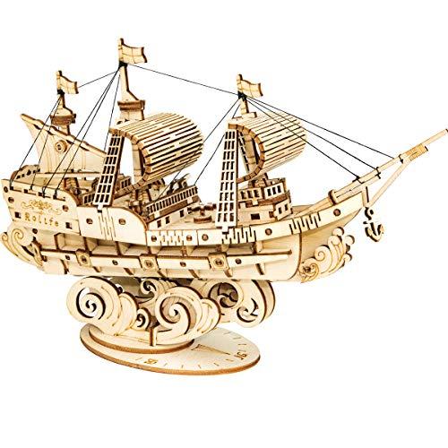 Robotime Puzzle 3D in Legno per Bambini e Adulti Kit di Costruzione di Barche Rompicapo Artigianale Kit Fai-da-Te per Bambini dagli 8 Anni in su (Veliero)