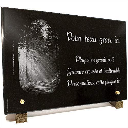 Plaque funéraire Arbre Soleil forêt en Granit gravé Personnalisable 30 x 20 x 2 cm