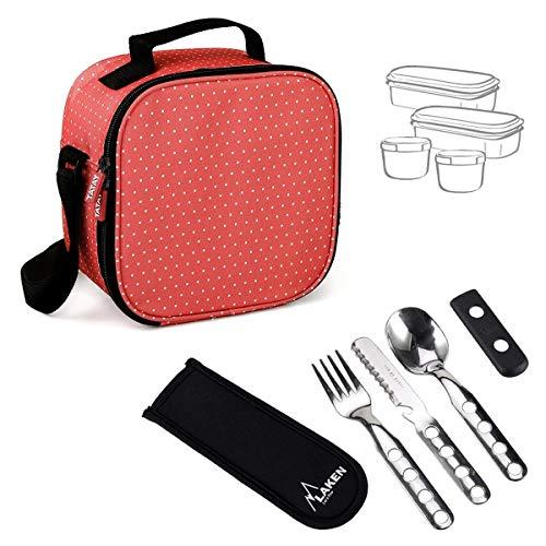 PracticFood - Urban Food Dots Rojo con Cubiertos Laken. Bolsa Térmica Porta Alimentos con Tapers Herméticos