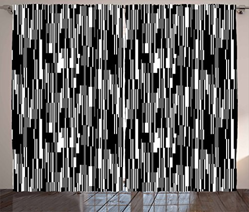 "Ambesonne Black and White Curtains, Barcode Pattern Abstraction Vertical Stripes in Grayscale Colors, Living Room Bedroom Window Drapes 2 Panel Set, 108"" X 63"", Black Grey"