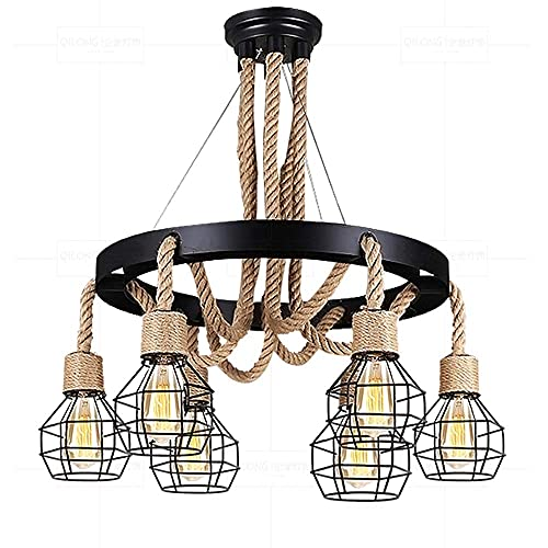 WEM Lámpara de araña decorativa novedosa, lámpara colgante de seis cabezas de estilo industrial. Personalidad creativa, retro, lámpara de araña de cuerda de cáñamo hecha a mano. Luminarias decorativa