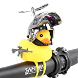 HORNTOP Rubber Duck Bike Bell,queeze Horn Loud Quack Sound, Cycling Light Cute Rubber Duck Toy for Toddler Kids Girls Boys Adult,Bicycle Accessories & Car Dashboard Decorations (Metal Gray)