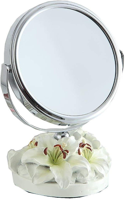 SMC Mirror Environmentally Friendly Resin Simple Adjustable Round Vanity Mirror Double-Sided Desktop Mirror (Size   Small)