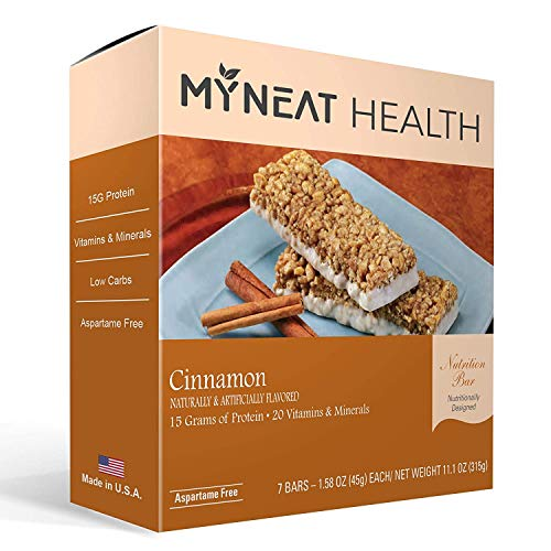 My Neat Health Meal Replacement Bar - Chocolate Almond Flavor Pre Workout Protein Bars - High Protein, Low Carb, Low Fat, 160 Calories (Cinnamon)