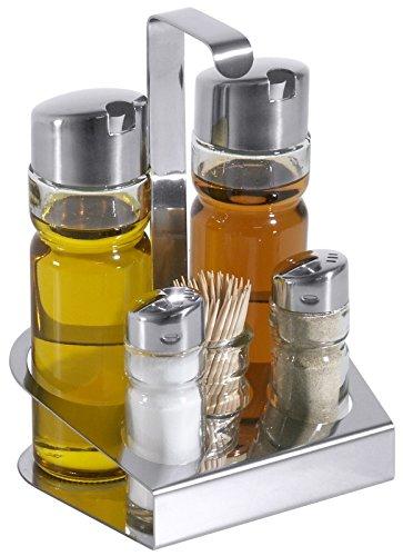 Menage, 5-teilig, aus Edelstahl 18/0, mit glatten Glaseinsätzen für Essig & Öl, Zahnstocher, Salz & Pfeffer / 14 x 11 x 19 cm | ERK