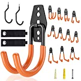 Garage Hooks Heavy Duty, VACNITE 16 Pack with Bike Hooks and Storage Strap, Garage Storage Hooks, Tool Hangers for Garage, Garage Hooks Wall Mount,Garage Organizer Hooks for Garden Tools,Ladders,Hoses