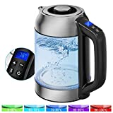 Glass Electric Kettle, Morpilot 1.7L Temperature Control Kettle with 5 Colors LED Light