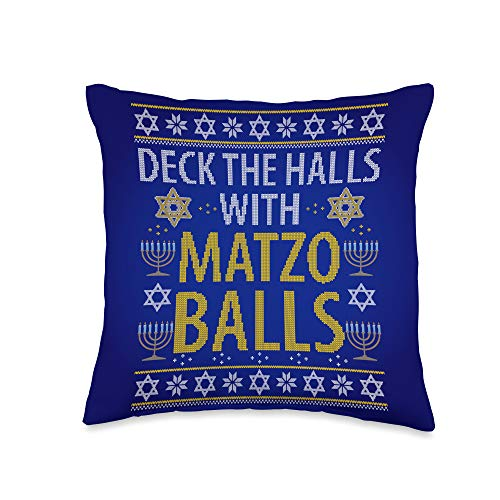 We Love Hanukkah Co. Matzo Balls Funny Quote Hanukkah Chanukah Jewish Celebration Throw Pillow, 16x16, Multicolor