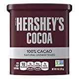 HERSHEY'S Natural Unsweetened 100% Cocoa Cocoa, Valentine's Day Baking Supplies, 8 Oz. Can (6 count)