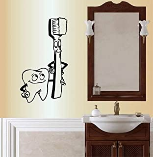 Wall Vinyl Decal Home Decor Art Sticker Silhouette Cute Funny Tooth Tooth Brush Cartoon Dentist Dental Office Clinic Bathroom Room Removable Stylish Mural Unique Design For Any Room Creative Design Logo House
