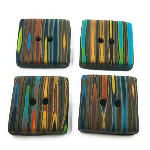 Efimoni 4 Stück Knöpfe, 20mm, 2 Loch, schwarz flach, quadratisch, mehrfarbig Art.Nr.: K00106