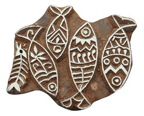 Knitwit Fisch-Muster Hand Geschnitzte Holz Druckstöcke Textil Stempel aus Holz Brown-Block