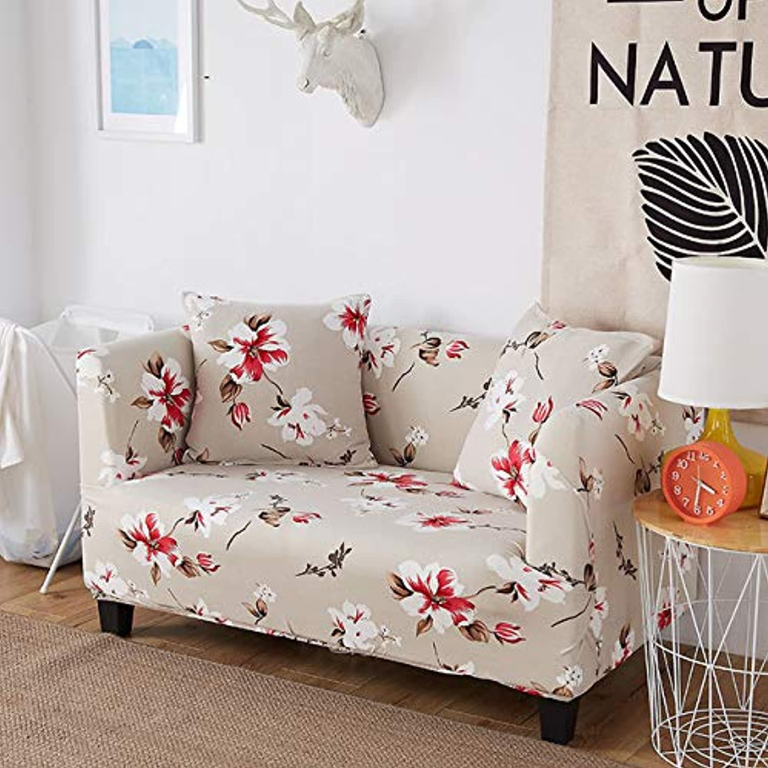 Slipcover Floral Sofa Cover Tight Wrap All-Inclusive Slip-Resistant Corner Cover Sectional Elastic One Two Three Four Seat 58211   F, one seat