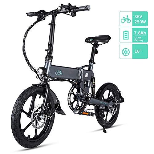 FIIDO D2/D2S Elektrofahrrad, klappbar, 7,8 Ah, 36 V, E-Bike, 250 W, mit 25 km/h, verstellbar, für Unisex Erwachsene, LED-Scheinwerfer vorne und 16 Zoll Räder für 120 kg, grau