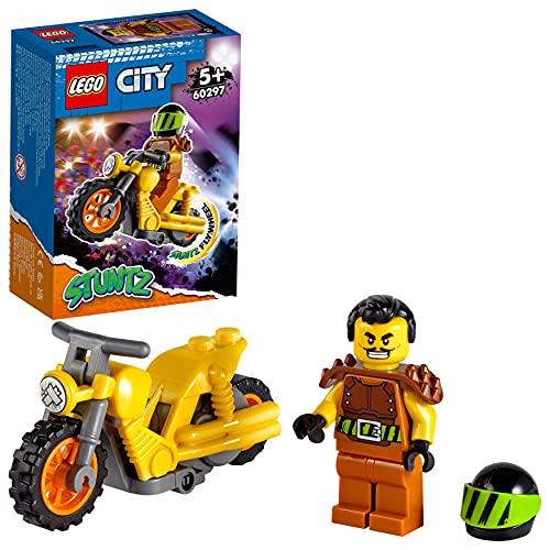 LEGO City Stuntz Stunt Bike da Demolizione con Moto Giocattolo con Meccanismo a Spinta e Minifigura Pilota Wallop, Giocattoli Bambino 5 Anni e Più, 60297