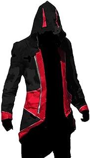fantasycart Connor Kenway Costume Hoodie Costume Jacket Coat Black&Red Size L
