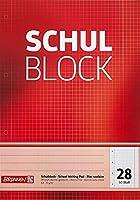 Schulblock A4 50 Blatt Lineatur 28, kariert, mit Randlinie innen und außen 4-fach-gelocht 70 g/m²